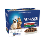Advance Advance Adult Beef And Lamb In Gravy Wet Cat Food Pouches 12 x 85g