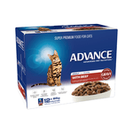 Advance Advance Adult Beef In Gravy Wet Cat Food Pouches 12 x 85g