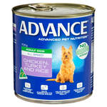 Advance Advance Adult Chicken Turkey And Rice Wet Dog Food Cans 12 x 700g