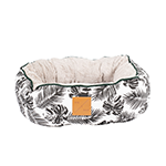 Mog and Bone Mog And Bone Cat Reversible Bed Black Tropical Leaves Print