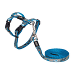 Rogz Rogz Reflectocat Harness Lead Blue Fish