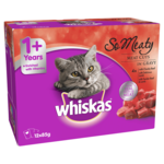 Whiskas Whiskas Wet Cat Food Adult So Meaty Meat Cuts Gravy