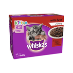 Whiskas Whiskas Wet Cat Food Kitten Beef Pouches Gravy