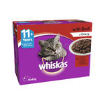 Whiskas Whiskas Wet Cat Food Senior 11 Plus Beef Gravy