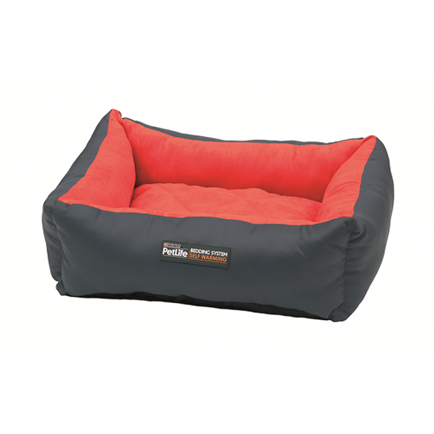 Petlife Self Warm Cuddle Bed Red Charcoal