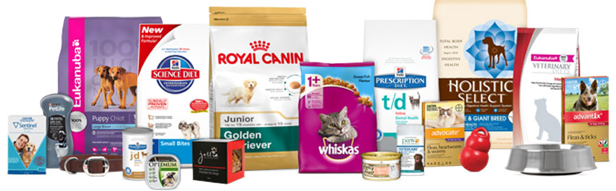 a variety of pet products