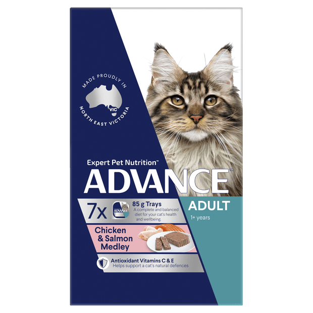 Advance Adult Chicken And Salmon Medley Wet Cat Food Trays